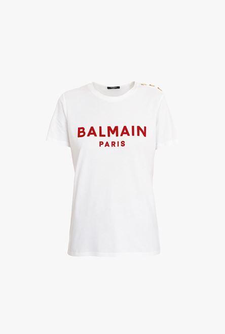 T-Shirt Bianca In Cotone Con Logo Balmain Floccato Rosso - Balmain