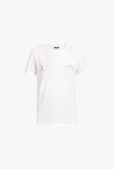 T-Shirt Bianca In Cotone Con Logo Balmain Argentato - Balmain
