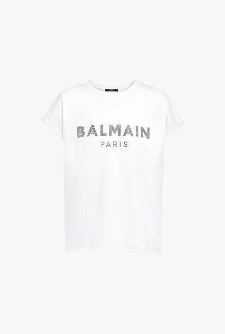 T-Shirt Bianca In Cotone Con Logo Balmain Nero In Strass - Balmain