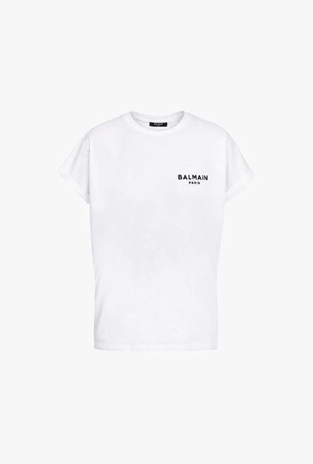 T-Shirt Bianca In Cotone Con Logo Balmain Floccato Nero - Balmain