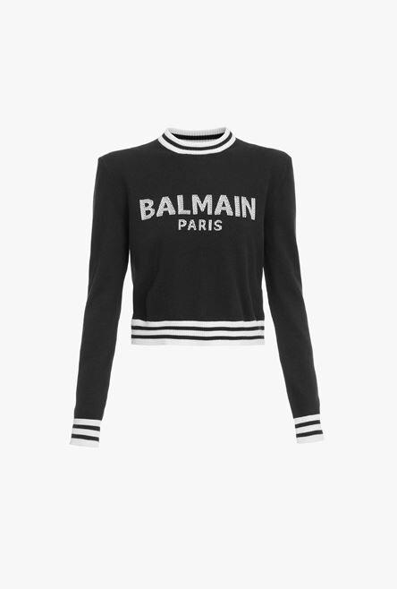 Felpa Corta Nera In Lana E Cashmere Con Logo Balmain Bianco - Balmain
