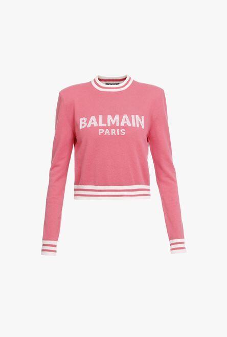Felpa Corta Rosa In Lana E Cashmere Con Logo Balmain Bianco - Balmain