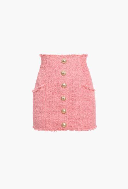 Gonna Corta A Vita Alta Rosa In Tweed - Balmain