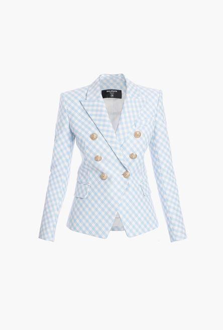 Blazer Blu E Bianco In Cotone A Quadretti - Balmain